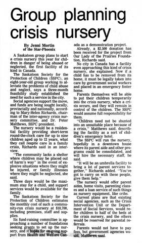 The History of the Saskatoon Crisis Nursery - News - Part 1