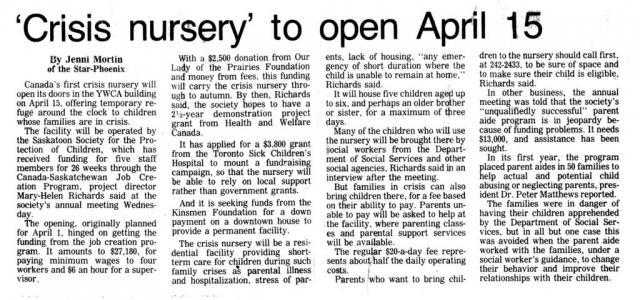 The History of the Saskatoon Crisis Nursery - News - Part 2