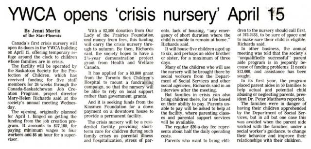 The History of the Saskatoon Crisis Nursery - News - Part 4