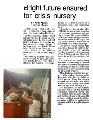 The History of the Saskatoon Crisis Nursery - News - Part 7