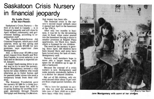 The History of the Saskatoon Crisis Nursery - News - Part 8
